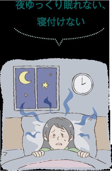 夜ゆっくり眠れない、寝付けない